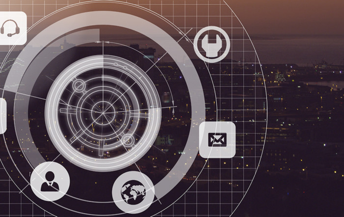8 Things to Have on Your Radar in 2018-Digital composite of City with icons interface radar