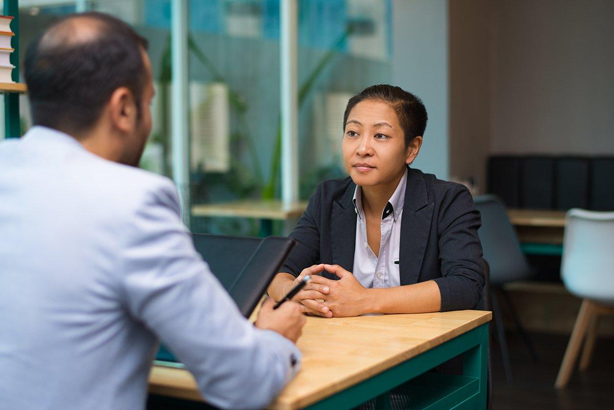 Going Platinum-Listening-Business woman listing